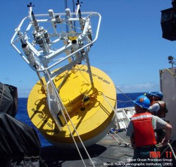 An instrumented buoy representative of what will be used this month for Ocean Observatories Initiative at-sea tests off the New England Coast. (Credit: Woods Hole Oceanographic Institution)