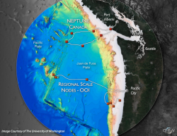 Two of Ocean Networks Canada's workshops will discuss data collection on the Juan de Fuca Plate, north of the OOI Regional Scale Nodes component.  Graphic Credit - OOI Regional Scale Nodes program and the Center for Environmental Visualization, University of Washington Disclaimer.