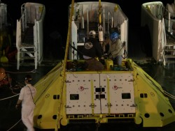 Node installation operations went on around the clock. Shown here is Primary Node 1B (PN1B) being readied for a nighttime deployment. Operations for deployment of this node began late in the evening of July 19. Just before midnight it was confirmed that the node had landed on the seabed at about 1,250m water depth and only 20m away from its target location. Photo by Cecile Durand
