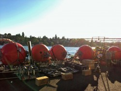 Station Papa Flanking and Hybrid Profiler moorings at the dock in Seattle being tested before loading onto the R/V Melville. Photo (Credit: Taylor Semingson, Scripps Institution of Oceanography)