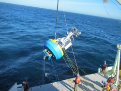 The Irminger Sea Surface Mooring is deployed off the R/V Knorr (Photo Credit: WHOI)