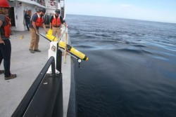 Crews prepare to deploy an Endurance coastal glider off of Gray's Harbor in October 2014. The glider is one of many components to the National Science Foundation's underwater observatory. (Photo courtesy of OOI Endurance Array program and Oregon State University)