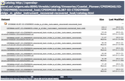 THREDDS catalog screenshot showing the CTD datasets for Glider 387 at the Pioneer Array.